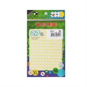 鶴屋051W 5mm圓型標籤 白