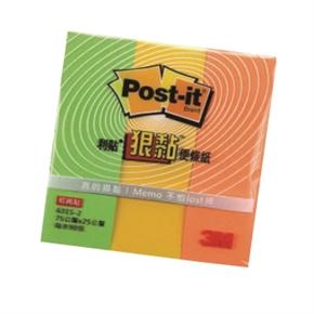 3M Post-it 631S-2狠黏便條紙-綠黃橘