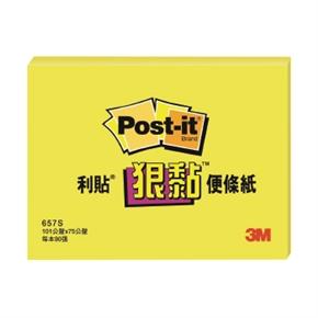 3M Post-it 657S-1狠黏便條紙3*4(黃)