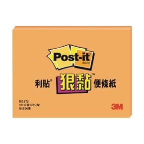 3M Post-it 657S-4狠黏便條紙 3*4(橘)