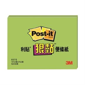 3M Post-it 657S-6狠黏便條紙3*4(綠)