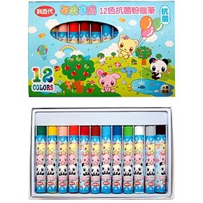 1211-OP可愛家族抗菌粉蠟筆12色 藍盒