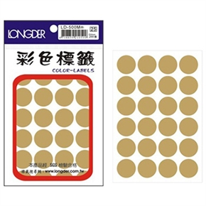 龍德 LD-500-M 圓型標籤 金色