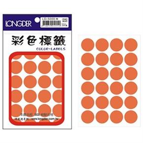 龍德 LD-500-O 圓型標籤 橙色