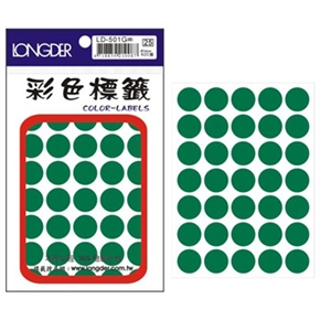 龍德 LD-501-G 圓型標籤 綠色