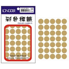 龍德 LD-501-M 圓型標籤 金色