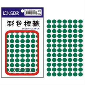 龍德 LD-502-G 圓型標籤 綠色