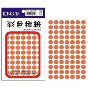 龍德 LD-502-O 圓型標籤 橙色