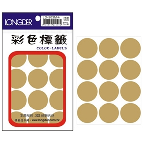 龍德 LD-503-M 圓型標籤 金色
