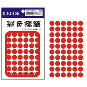 龍德 LD-504-R 圓型標籤 紅