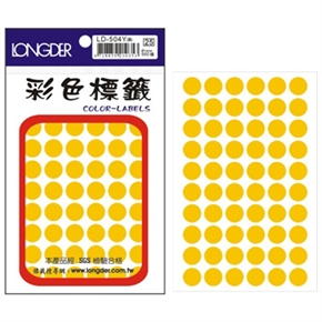 龍德 LD-504-Y 圓型標籤 黃