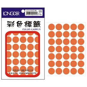 龍德 LD-530-O 圓型螢光標籤 橘