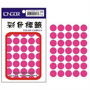 龍德 LD-530-P 圓型螢光標籤 粉紅