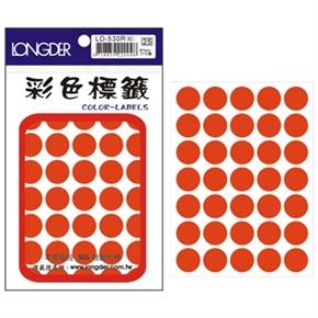 龍德 LD-530-R 圓型螢光標籤 紅
