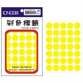 龍德 LD-530-R 圓型螢光標籤 黃