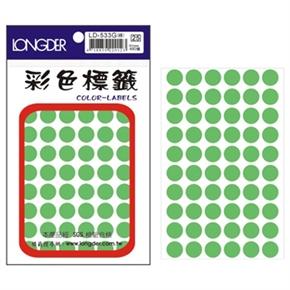 龍德 LD-533-G 圓型螢光標籤 綠