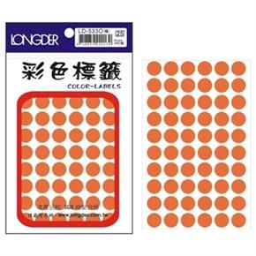龍德 LD-533-O 圓型螢光標籤 橘