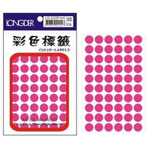 龍德 LD-533-P 圓型螢光標籤 粉紅