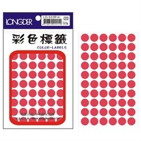 龍德 LD-533-R 圓型螢光標籤 紅