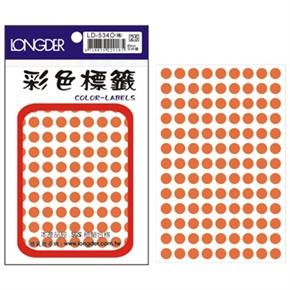 龍德 LD-534-O 圓形螢光標籤 橘