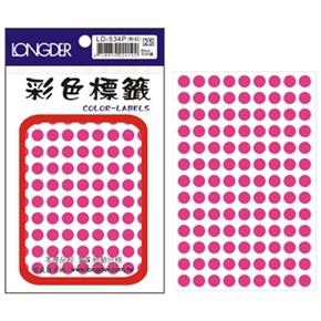 龍德 LD-534-P 圓形螢光標籤 粉紅