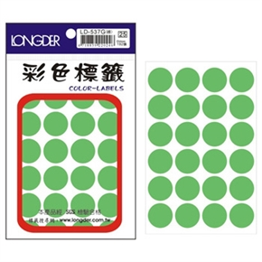 龍德 LD-537-G 圓型螢光標籤 綠