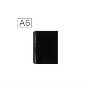 LIHIT 皮革A6筆記本(17孔) 黑色 D1071-4