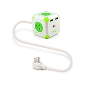 MIG 明家 Mini魔方 3孔4插+雙USB埠 電源延長線(L型插頭)-1.2M