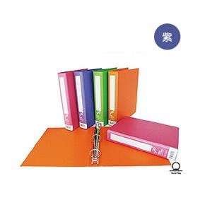 同春F66315繽紛布紋A4有耳圓型三孔夾(紫)(1箱12入)