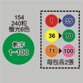 鶴屋 154 15mm螢光數字圓標籤
