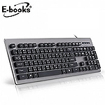 E-books Z3 仿機械手感降噪有線鍵盤鐵灰